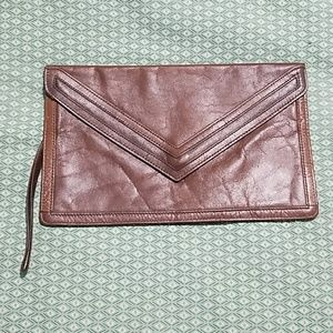 Vintage 70s leather clutch wristlet purse